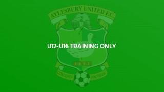 U12-U16 Training Only