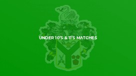 Under 10's & 11's Matches